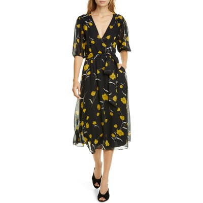 Joie Ervina Floral Wrap Front Silk Dress, Black