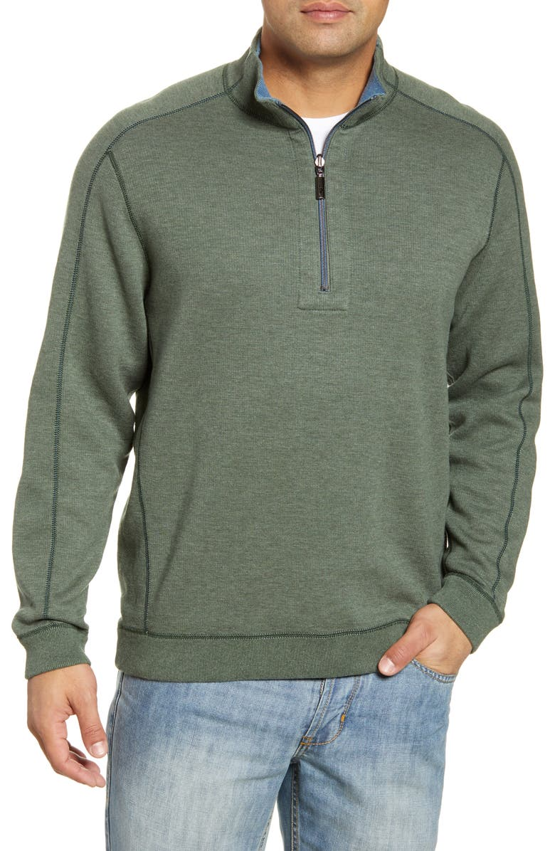 TOMMY BAHAMA New Flipsider Half Zip Reversible Pullover, Main, color, PALM MOSS HEATHER