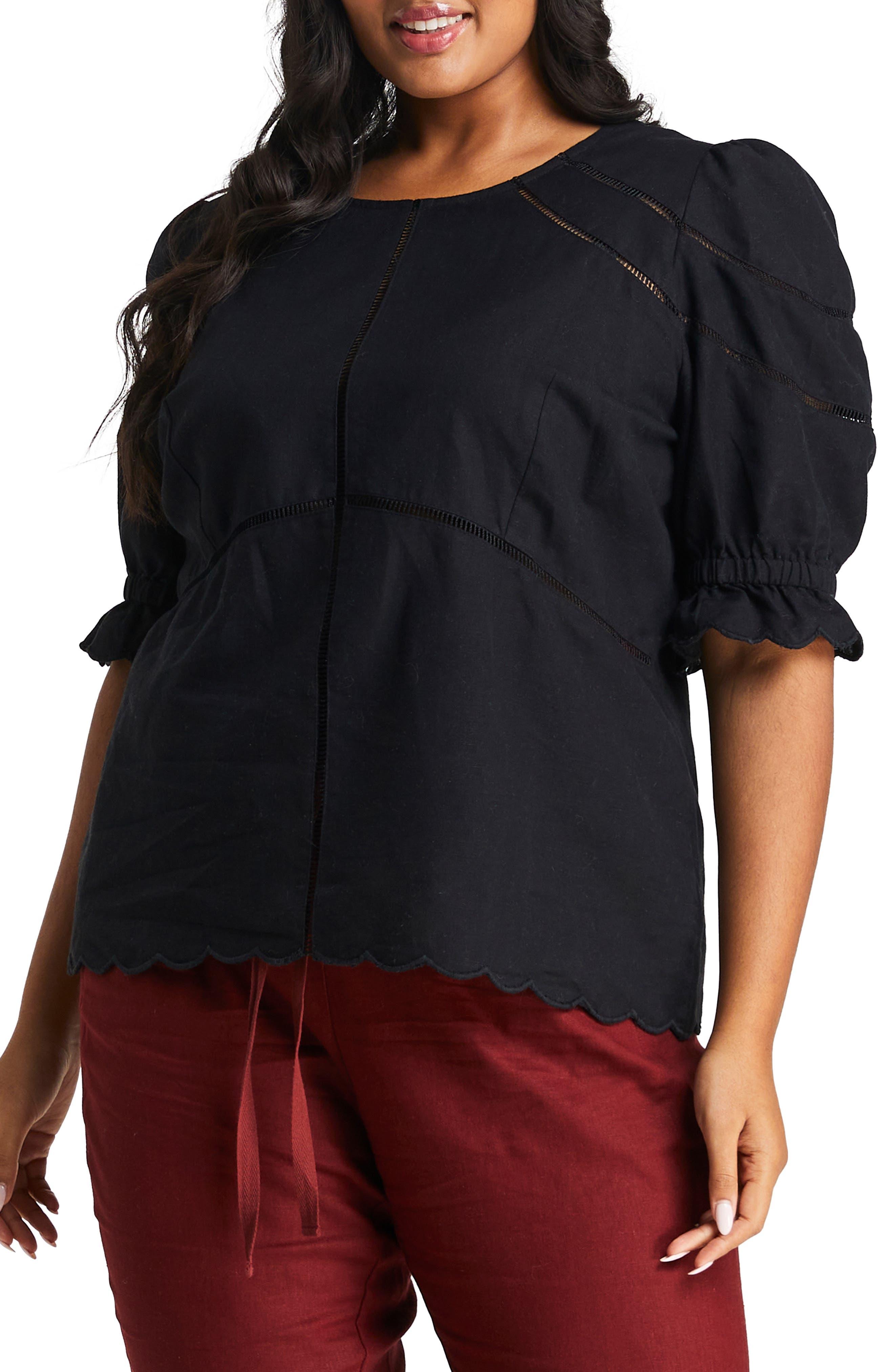 Rita Ladder Stitch Accent Linen & Cotton Blouse