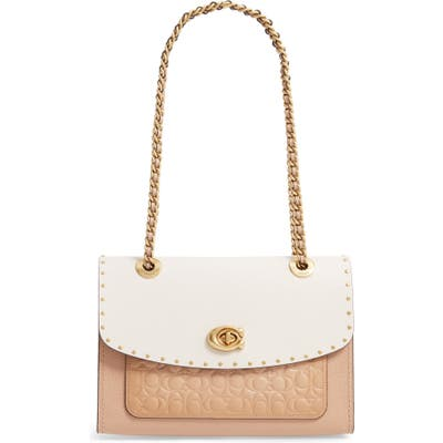 Coach Parker Signature Coated Canvas, Leather & Genuine Snakeskin Top Handle Shoulder Bag - Beige