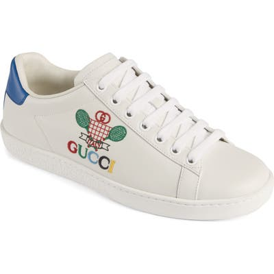 Gucci New Ace Embroidered Tennis Sneaker, White
