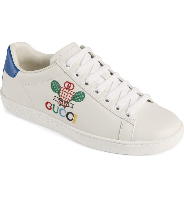 GUCCI New Ace Embroidered Tennis Sneaker, Main, color, WHITE