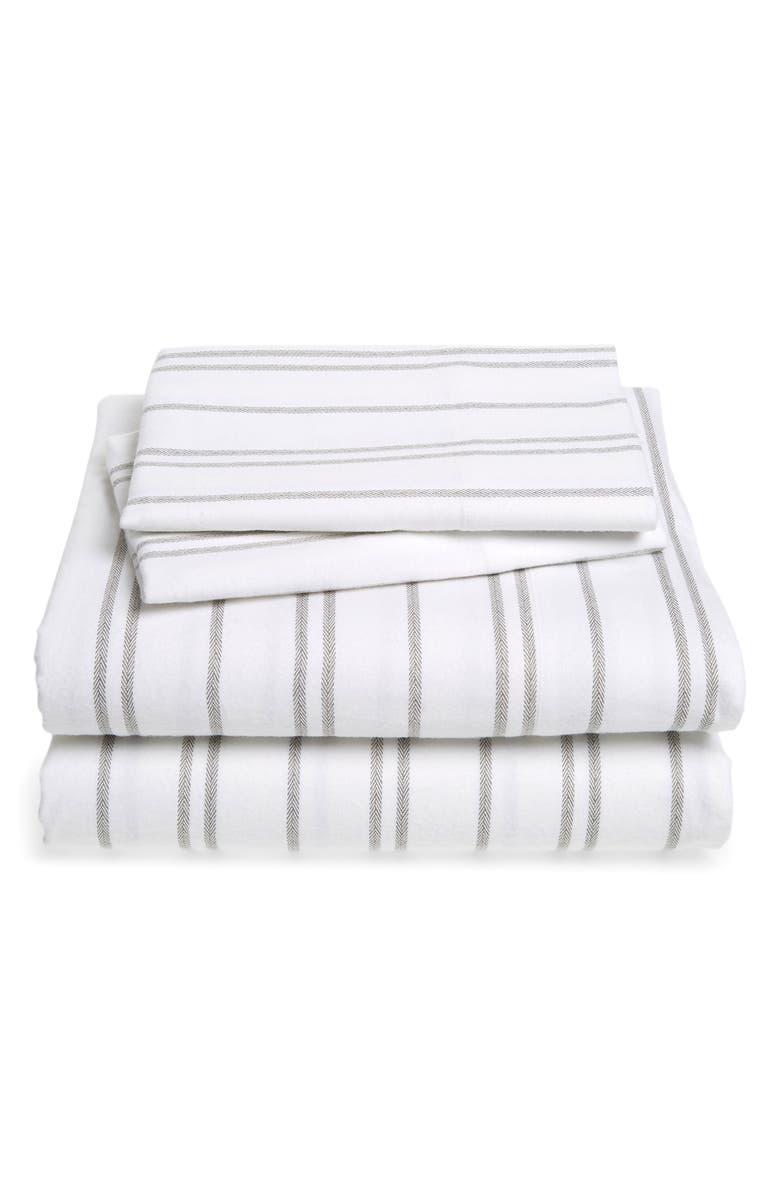 NORDSTROM Flannel Sheet Set, Main, color, GREY FROST HEATHER STRIPE