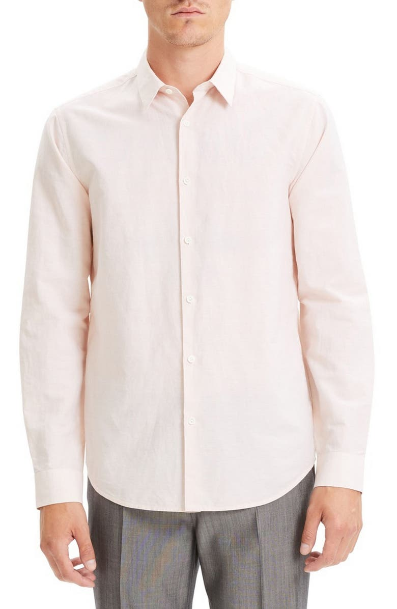 THEORY Irving Slim Fit Linen Blend Shirt, Main, color, TINT