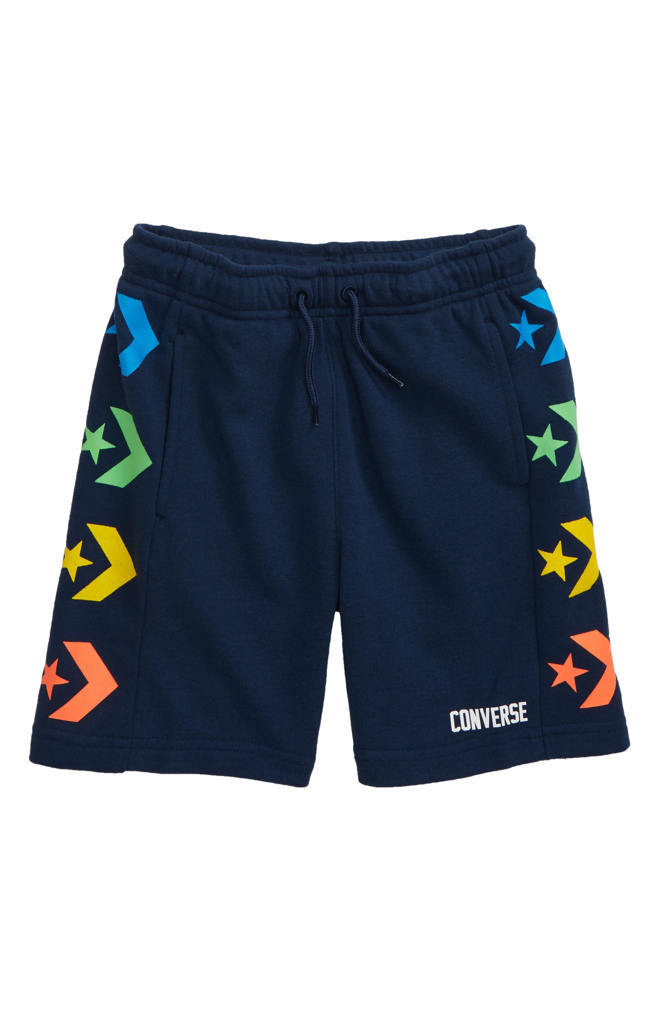 Boys Converse Star Chevron Print Knit Athletic Shorts Size XL (1315y)  Blue