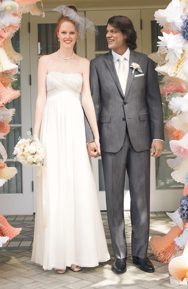 CALIBRATE Grey Wool & Mohair Suit, Main, color, 060
