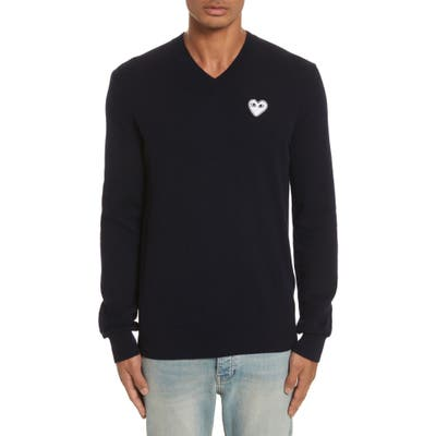 Comme Des Garcons Play White Heart Wool V-Neck Sweater
