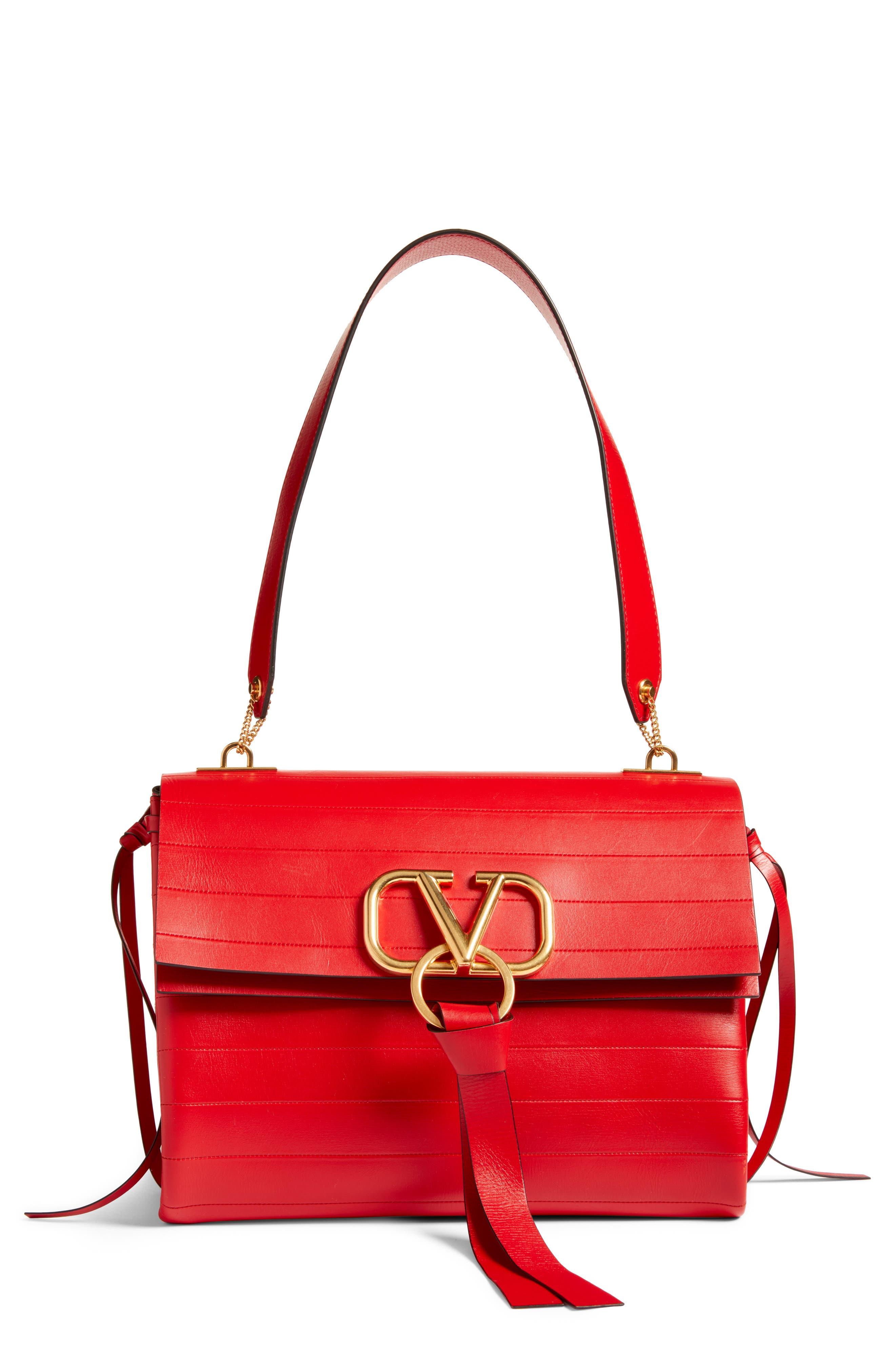 Medium V-Ring Leather Shoulder Bag, Main, color, ROUGE PUR