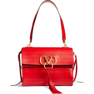 Valentino Garavani Medium V-Ring Leather Shoulder Bag - Red