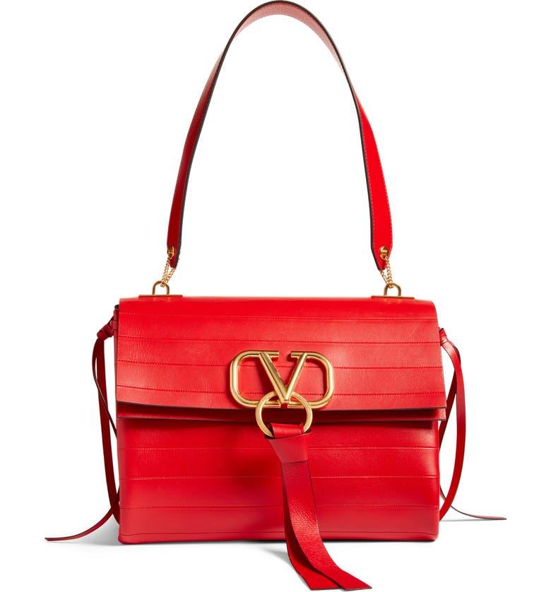 VALENTINO GARAVANI Medium V-Ring Leather Shoulder Bag, Main, color, ROUGE PUR