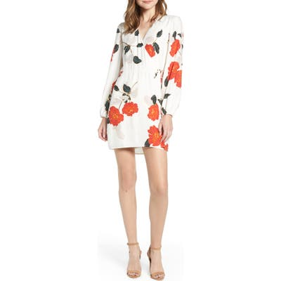 Cupcakes And Cashmere Passion Blossoms Long Sleeve Wrap Dress, Ivory
