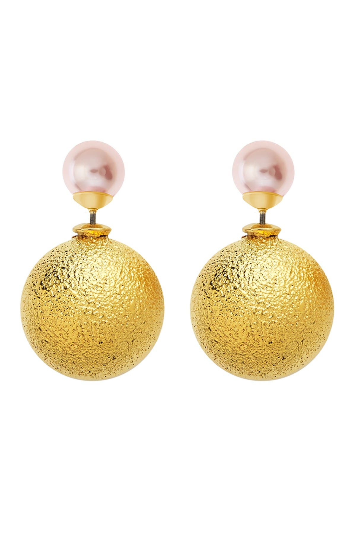 Image of Sterling Forever 14K Gold Plated Brass Brushed & Pink Imitation Pearl Double Sided Stud Earrings