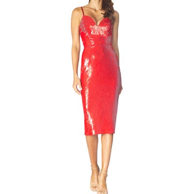 Dress The Population Dita Sequin Cocktail Dress, Red
