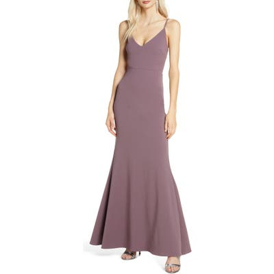 Lulus V-Neck Trumpet Gown, Purple