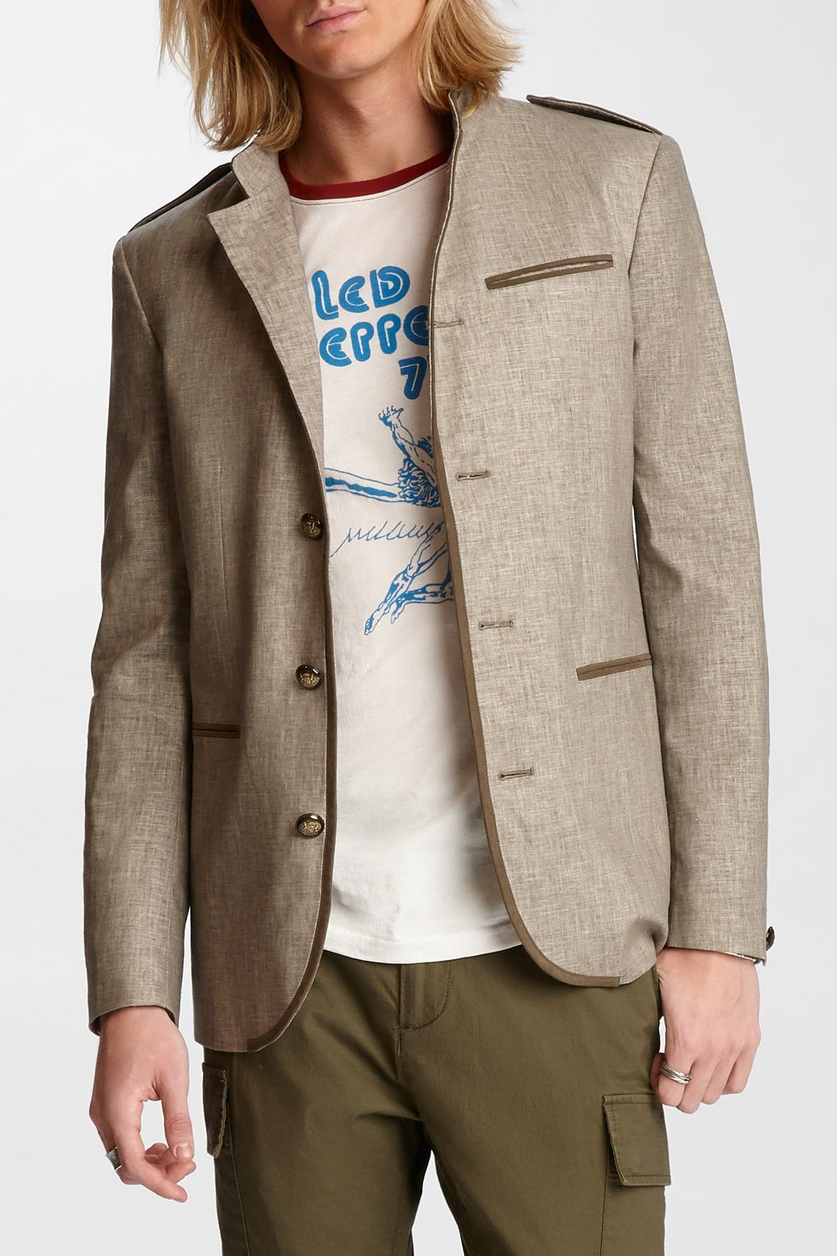 Image of John Varvatos Collection Max Linen Blend Officers Jacket