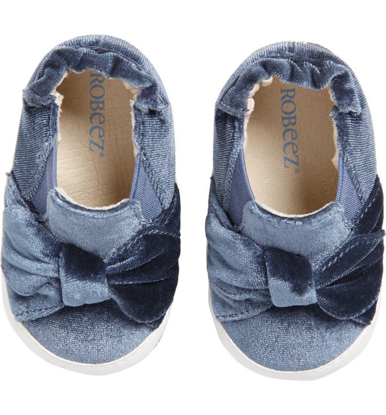 ROBEEZ<SUP>®</SUP> Bella Bow Crib Shoe, Main, color, NAVY