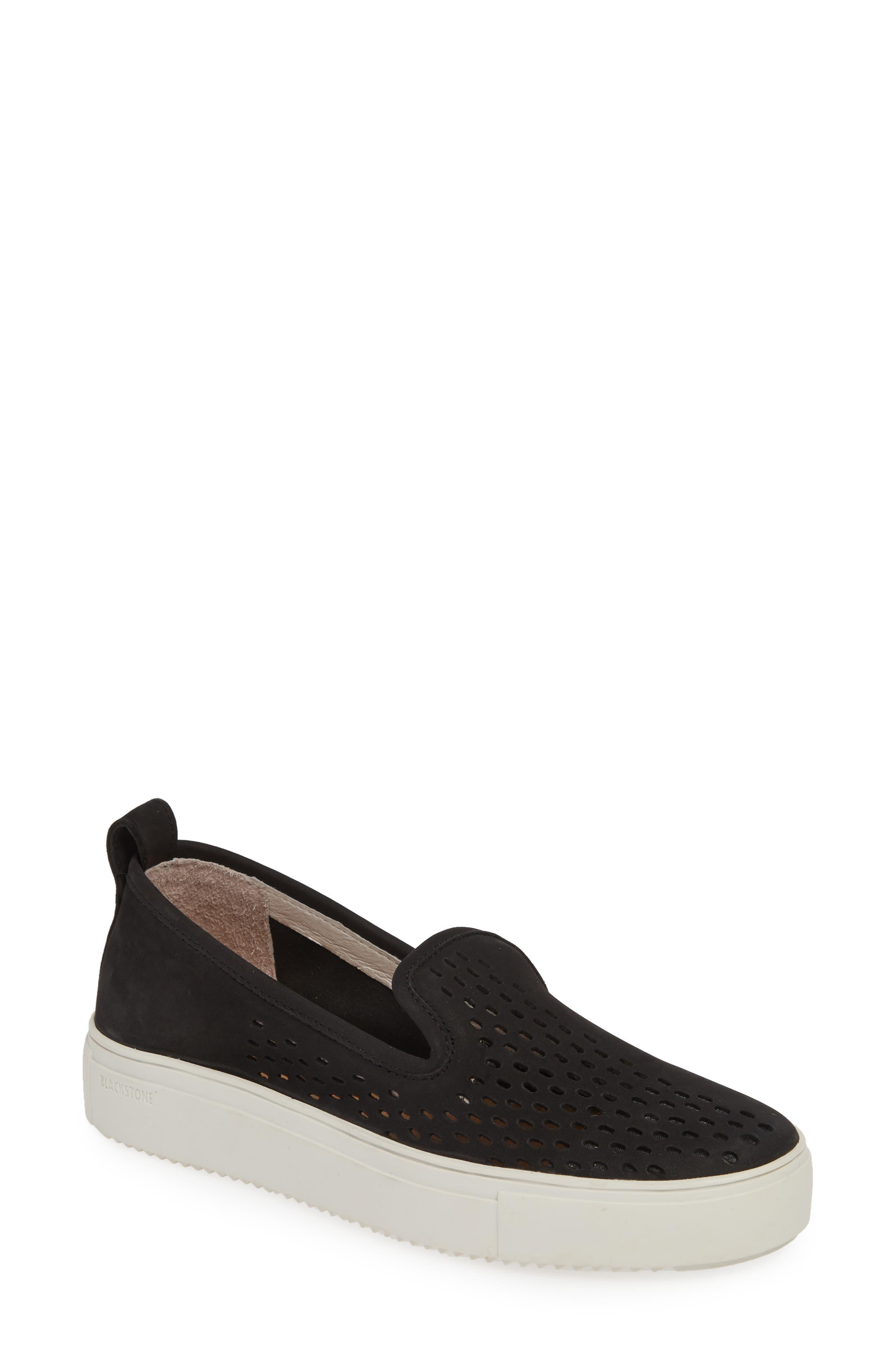 Blackstone Rl68 Perforated Slip-On Sneaker, Black
