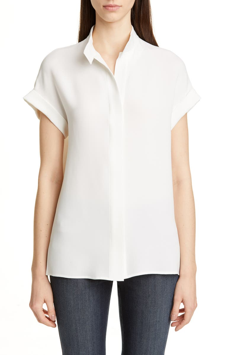 LAFAYETTE 148 NEW YORK Tabitha Short Sleeve Silk Shirt, Main, color, CLOUD