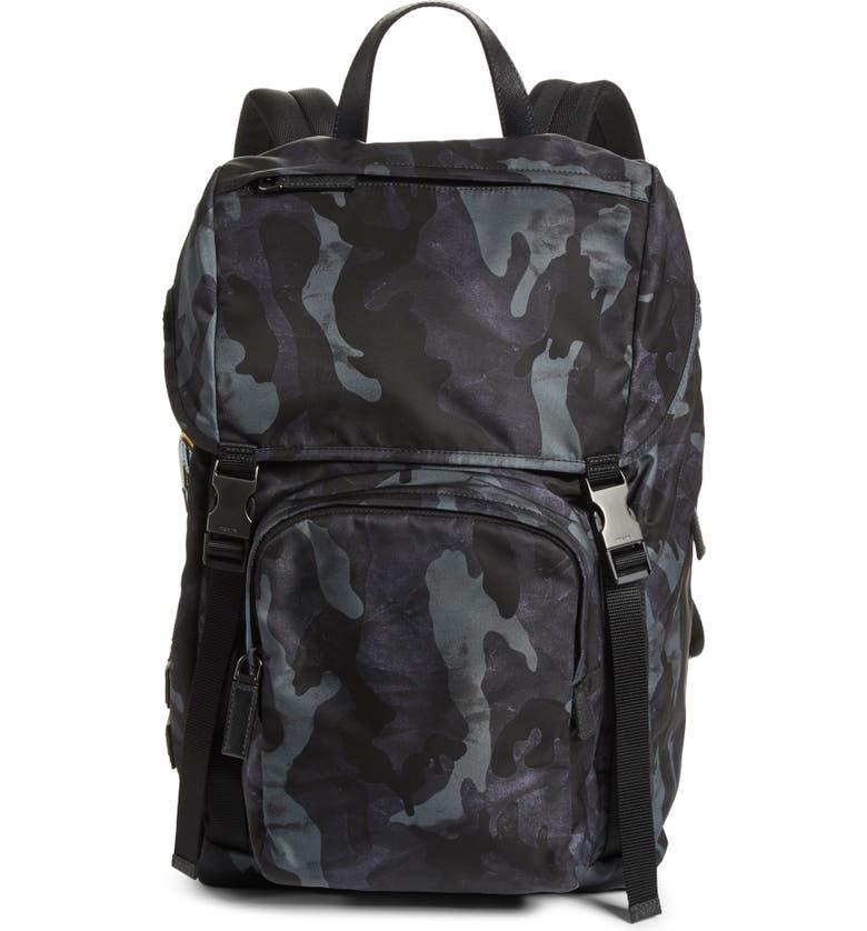 PRADA Tessuto Camo Nylon Backpack, Main, color, 001