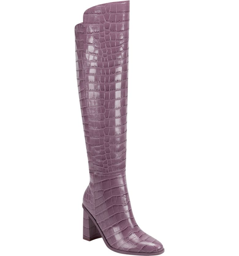 MARC FISHER LTD Unella Knee High Boot, Main, color, BERRY CROCO EMBOSSED LEATHER