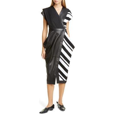 Proenza Schouler Stripe Silk Crepe & Leather Midi Wrap Dress, Black