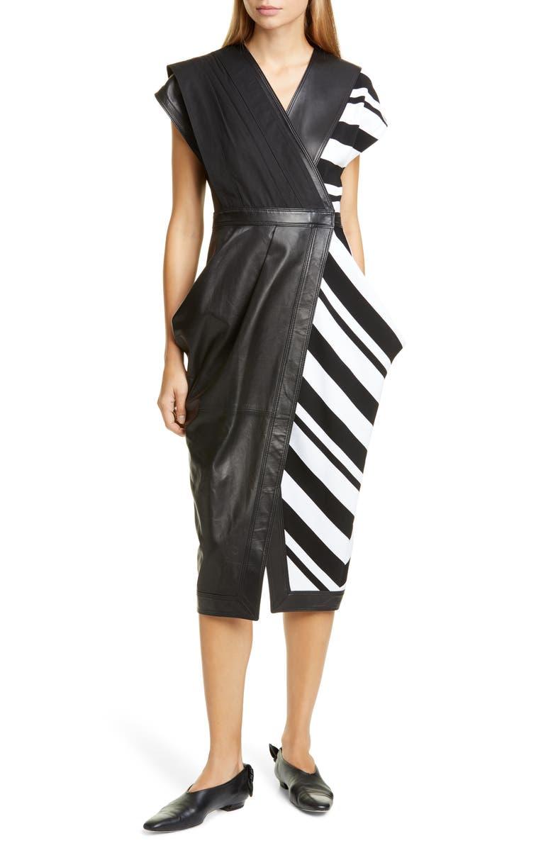 PROENZA SCHOULER Stripe Silk Crepe & Leather Midi Wrap Dress, Main, color, BLACK/ WHITE