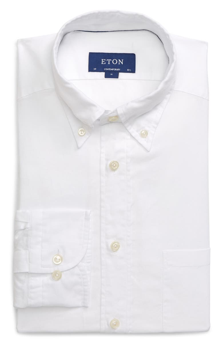 ETON Soft Collection Contemporary Fit Solid Dress Shirt, Main, color, WHITE