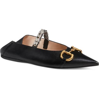 Gucci Deva Horsebit & Chain Convertible Pointed Toe Ballet Flat - Black