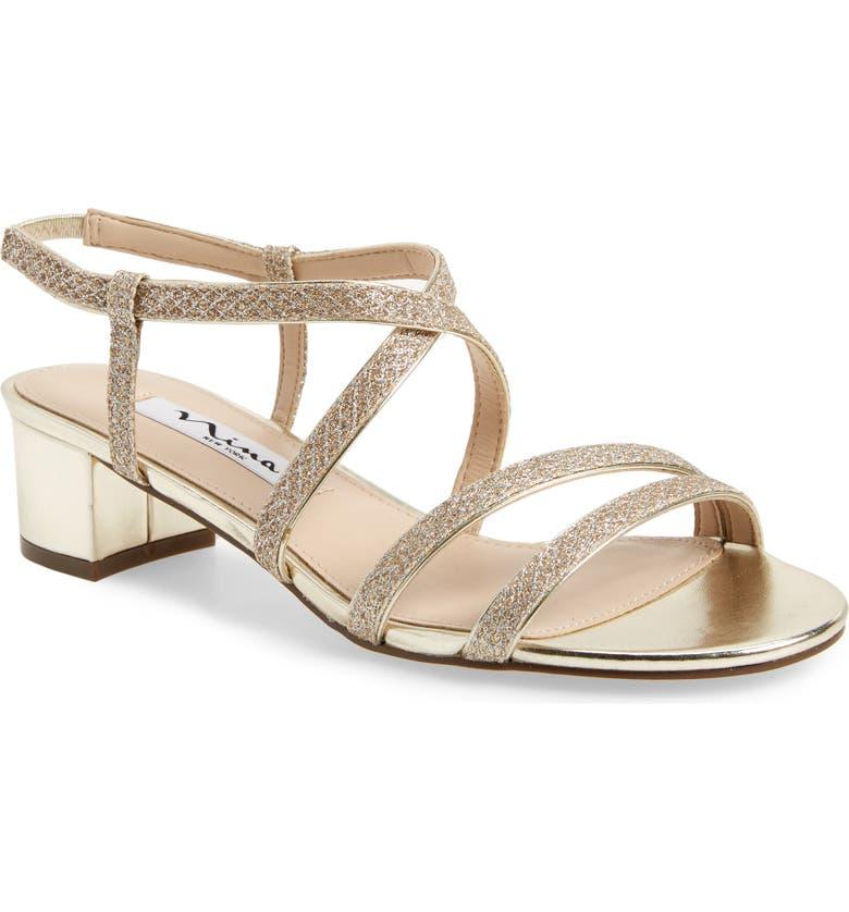 NINA Gaelen Sandal, Main, color, SOFT PLATINO GLITTER FABRIC