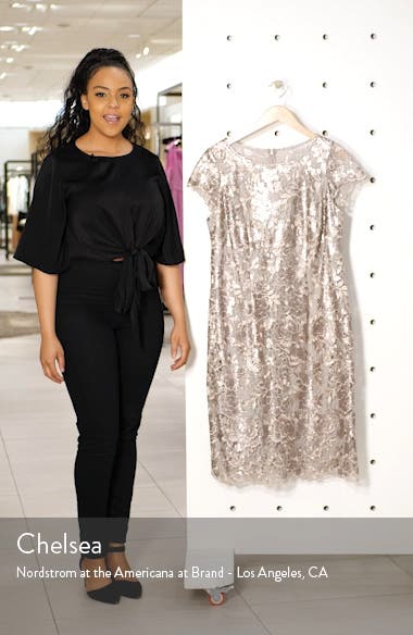 Cap Sleeve Sequin Embroidered Sheath Dress, sales video thumbnail