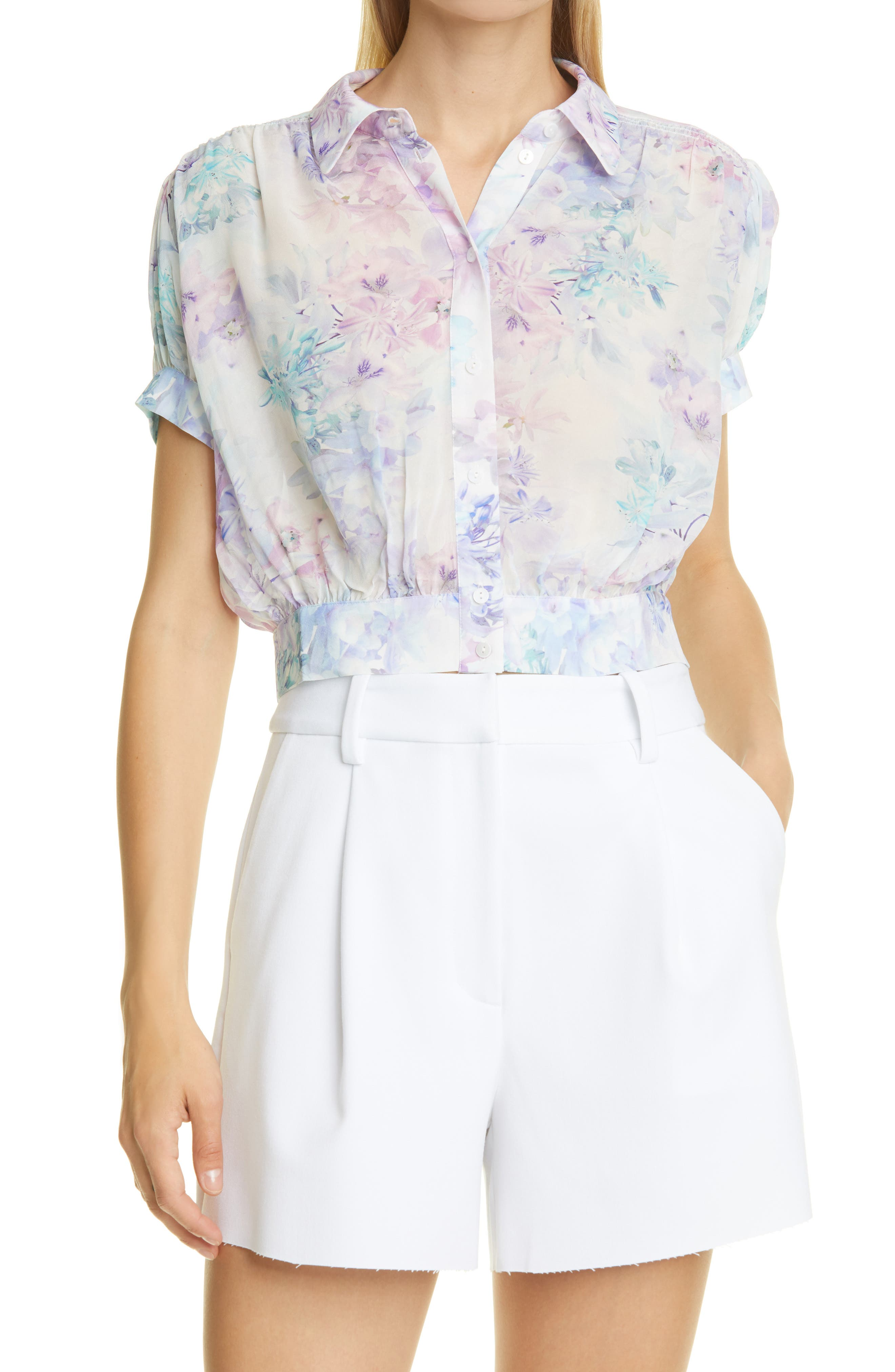 Floral Print Short Sleeve Button-Up Blouse