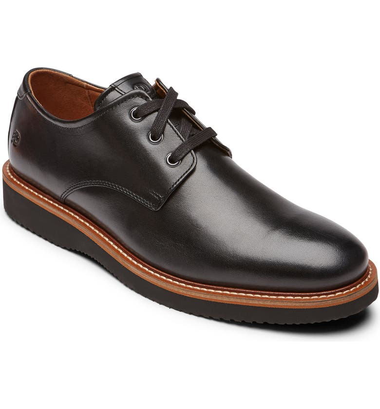 DUNHAM Clyde Plain Toe Derby, Main, color, BLACK LEATHER
