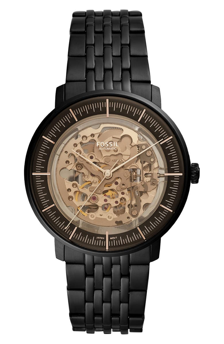 FOSSIL Chase Skeleton Automatic Bracelet Watch, 42mm, Main, color, 001