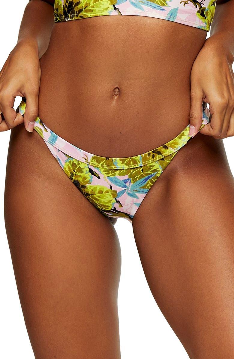 TOPSHOP IDOL Tropical Print Tanga Bikini Bottoms, Main, color, PINK MULTI