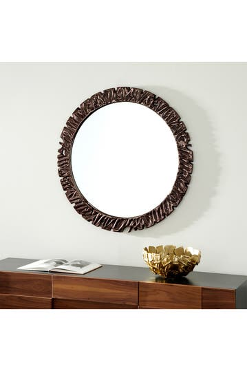 Venus Williams Collection Large Round Wall Mirror With Textured Gunmetal Frame 40 X 40 Hautelook