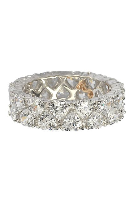 Image of Suzy Levian Sterling Silver Heart CZ Band Ring