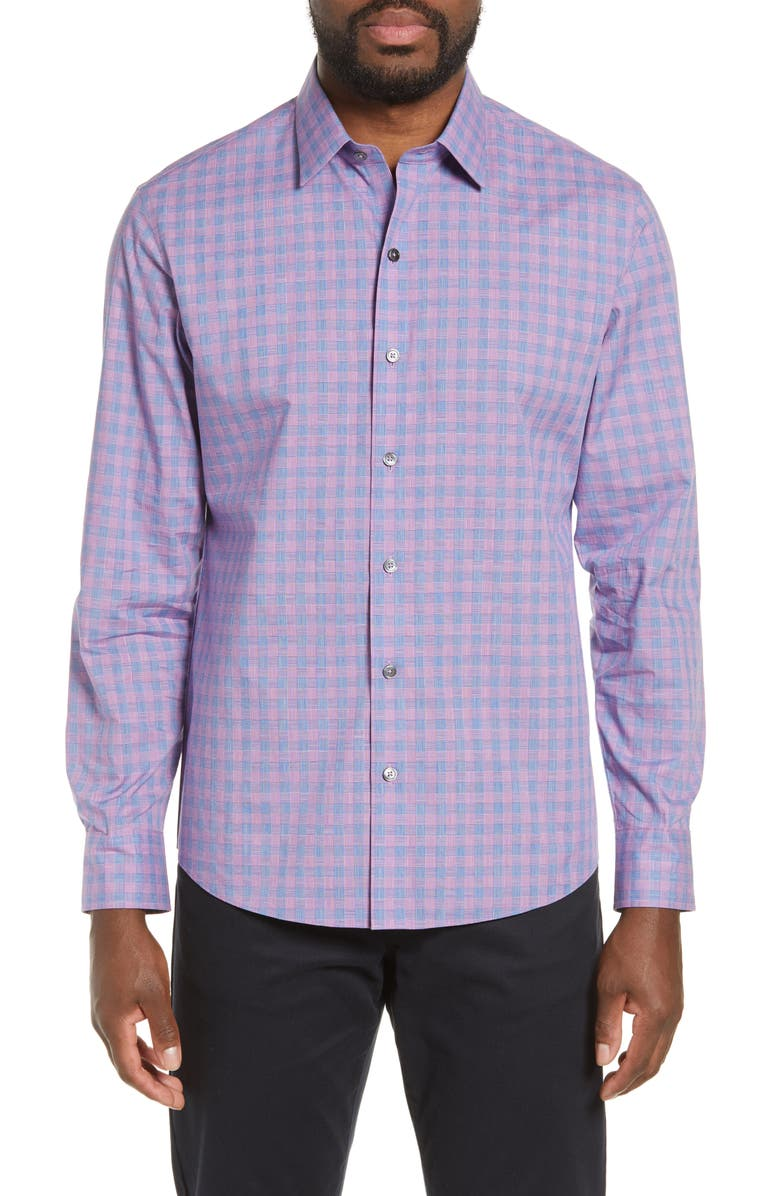 ZACHARY PRELL Schwantes Regular Fit Check Sport Shirt, Main, color, PURPLE