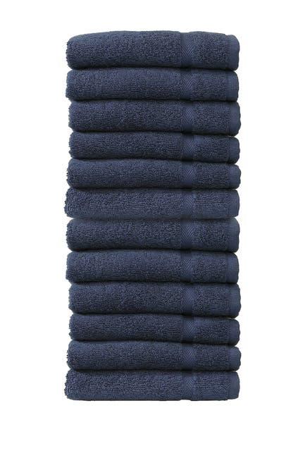Image of LINUM HOME Denzi Washcloths - Set of 12 - Twilight Blue