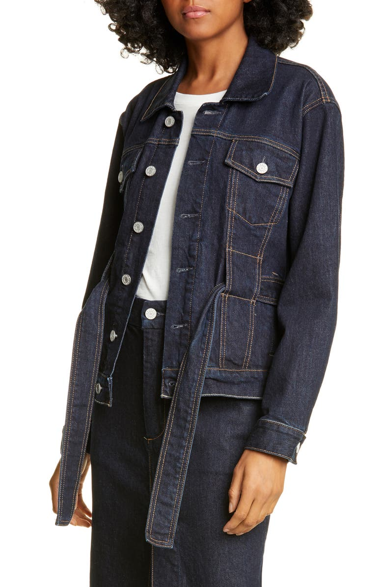 TRAVE Adrienne Belted Denim Jacket, Main, color, 400