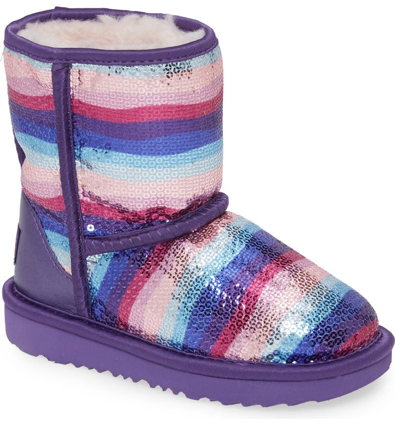 UGG<SUP>®</SUP> Classic II Rainbow Sequin Short Boot, Main, color, 526