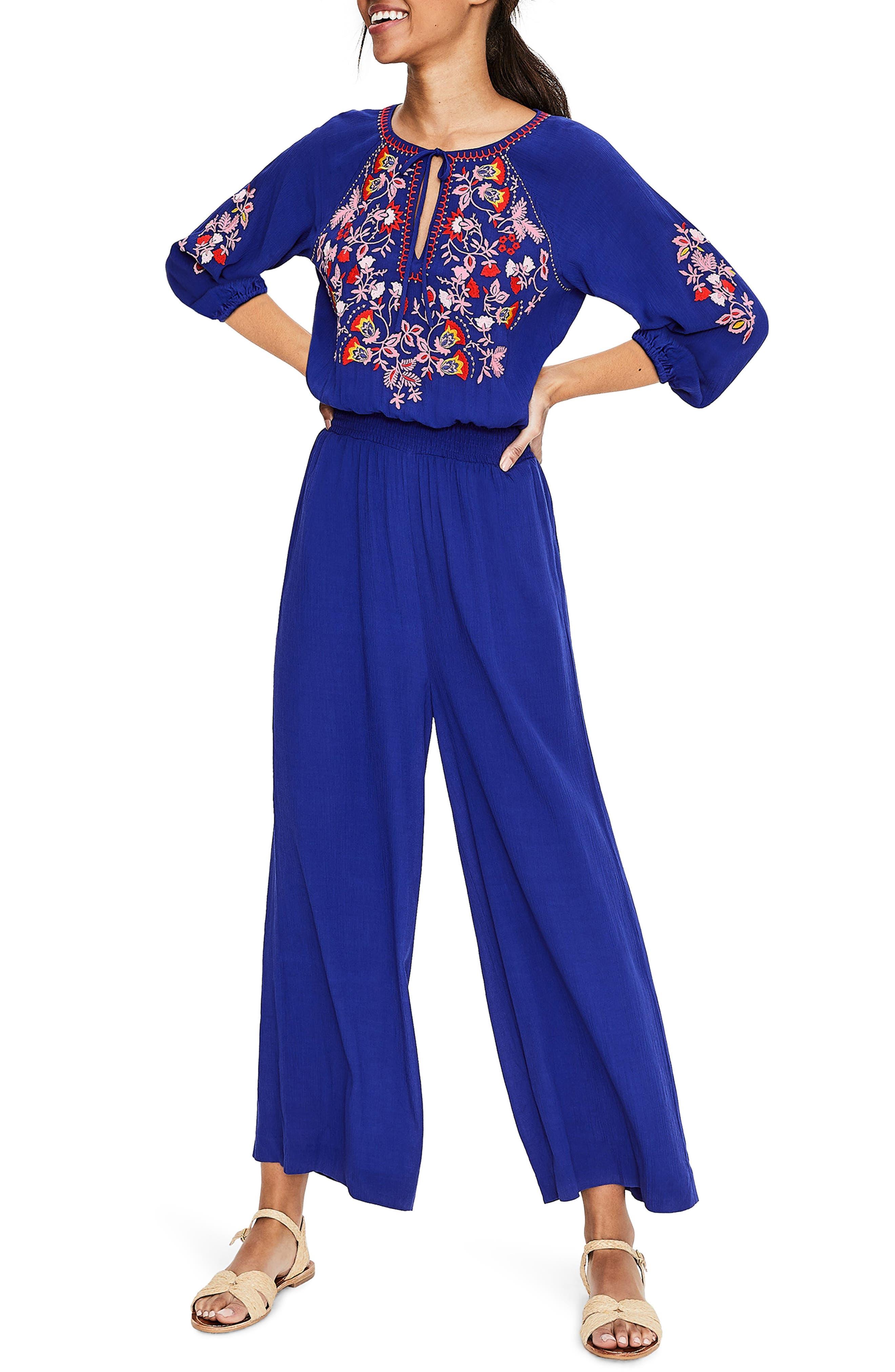 Boden Natalie Embroidered Jumpsuit, Blue
