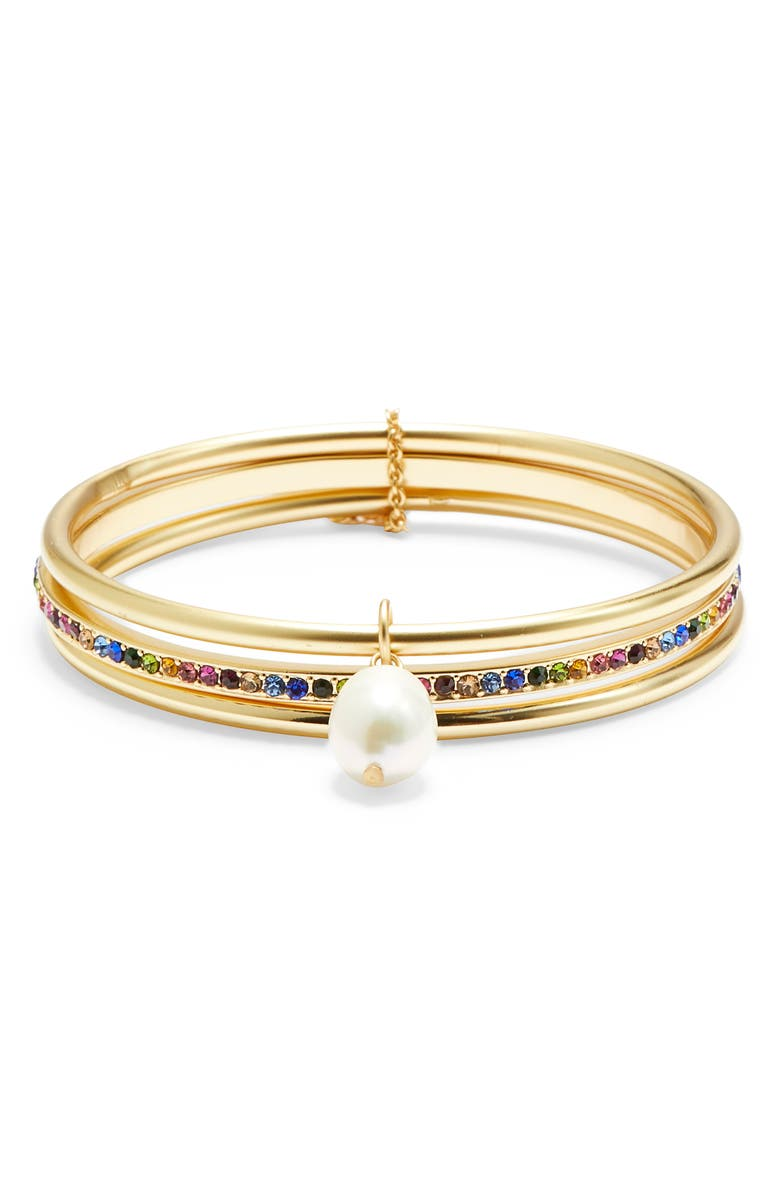 SOLE SOCIETY Pearl Play 3-Pack Pearl & Crystal Bangles, Main, color, 710