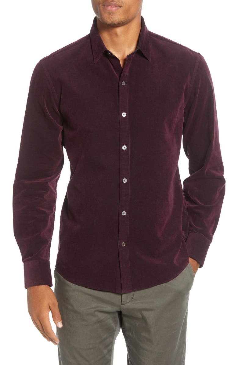 ZACHARY PRELL Akiti Regular Fit Button-Up Corduroy Shirt, Main, color, WINE