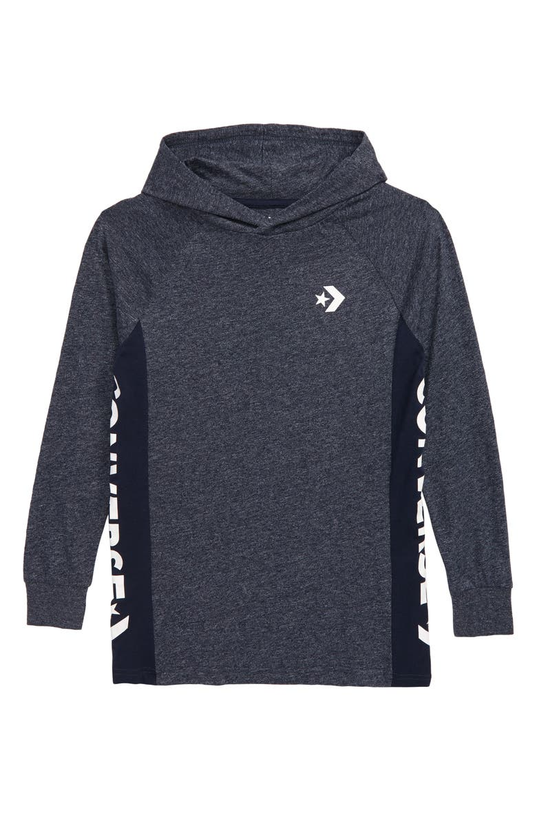 CONVERSE Wordmark Hooded Pullover, Main, color, OBSIDIAN
