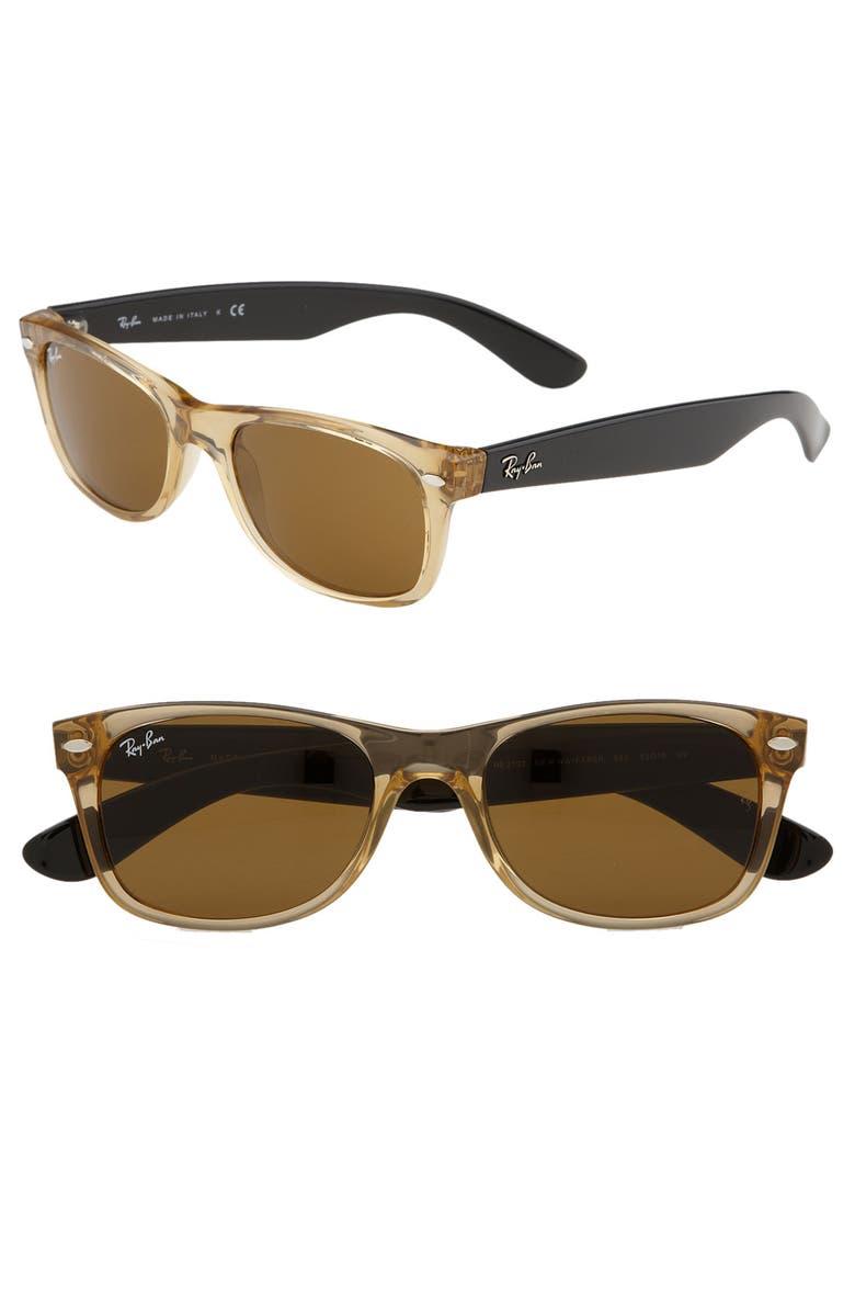 RAY-BAN Small New Wayfarer 52mm Sunglasses, Main, color, 001