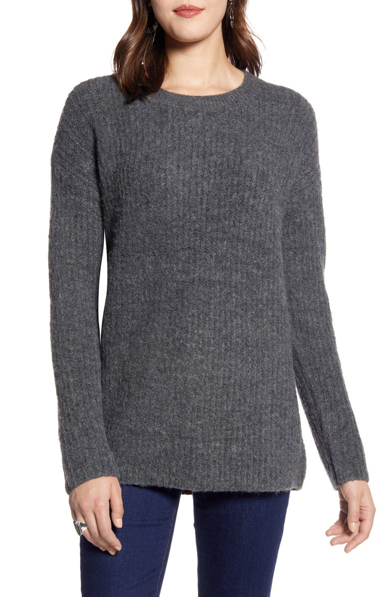 HALOGEN<SUP>®</SUP> Ribbed Crewneck Tunic Sweater, Main, color, 021