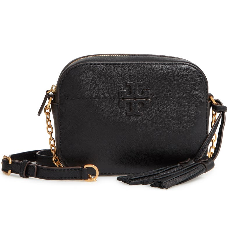 TORY BURCH McGraw Leather Camera Bag, Main, color, BLACK