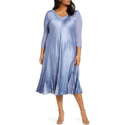Plus Size Komarov Beaded V-Neck Cocktail Dress, Blue