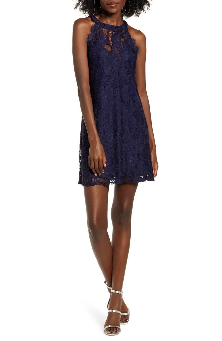 SPEECHLESS Sleeveless Lace Minidress, Main, color, MIDNIGHT