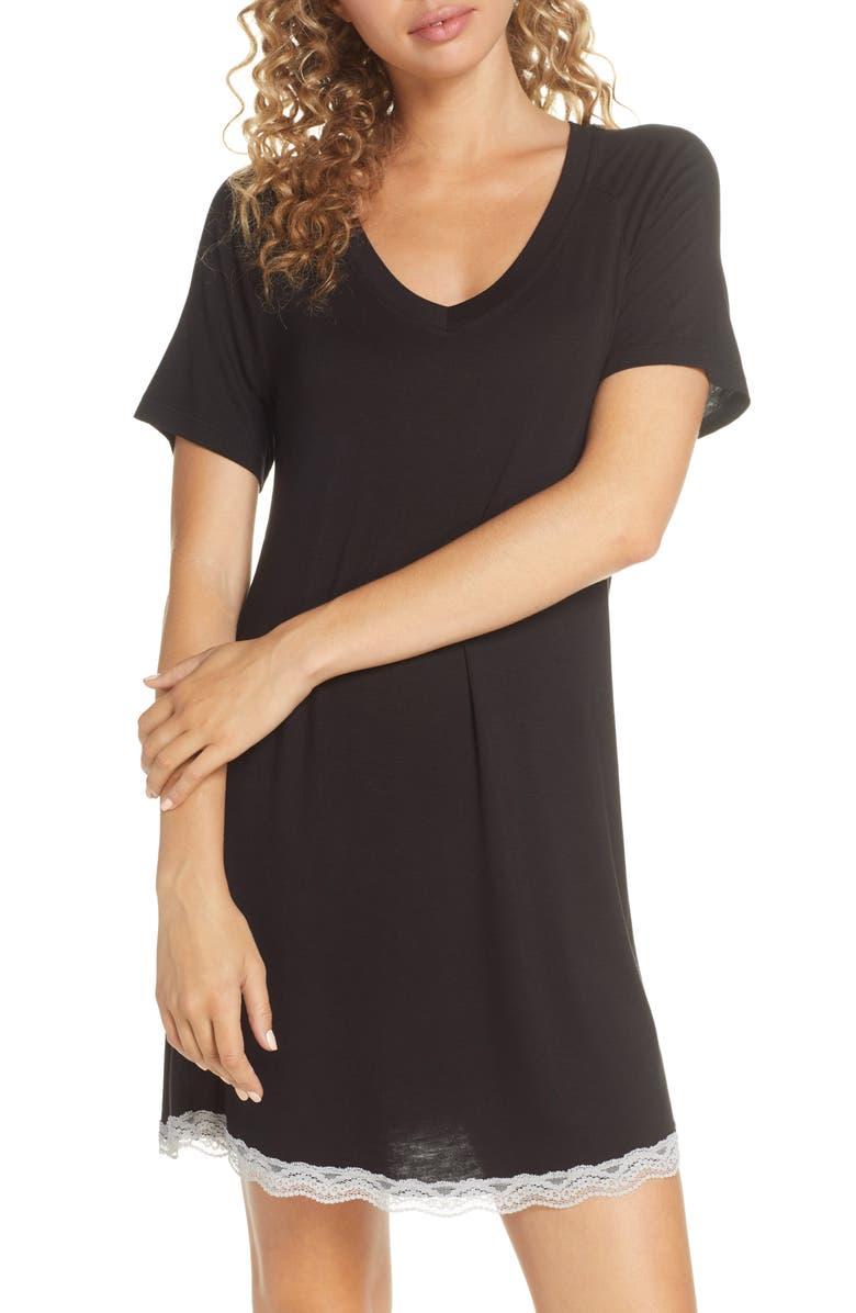 HONEYDEW INTIMATES All American Sleep Shirt, Main, color, BLACK